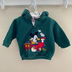 Vintage Mickey Mouse Train Hoodie 18 Months